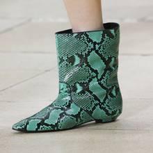 MStacchi Moda Pist Deri kısa çizmeler Sivri Burun Sarı Yılan Cilt yarım çizmeler Kadınlar Için yağmur çizmeleri Düz Topuk Botas Mujer(China)