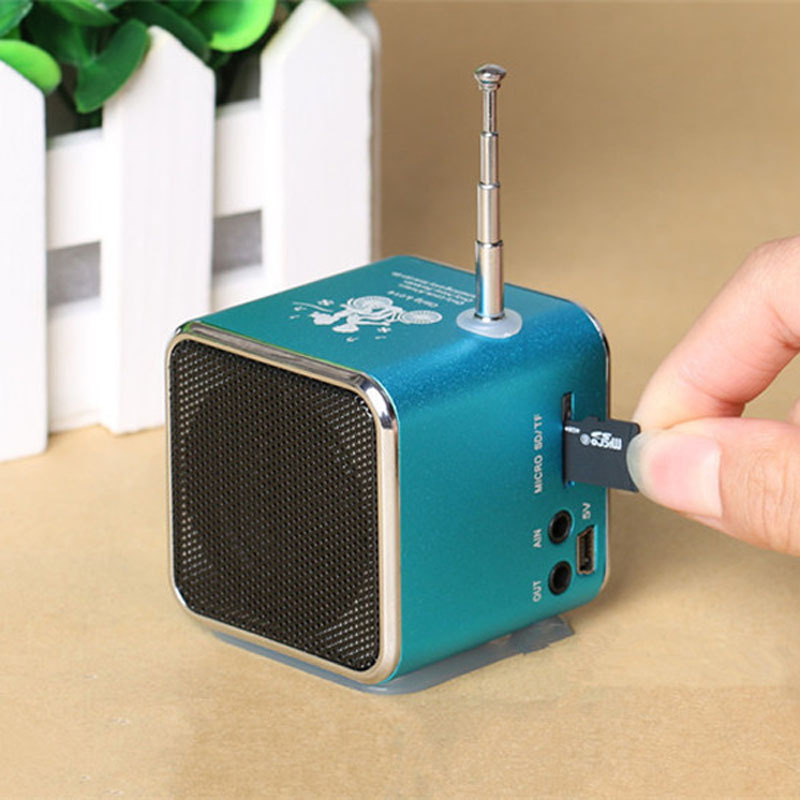Portable TD-V26 Mini Portable Aluminum Alloy USB Speaker Sound Amplifier Box FM Radio Support TF/SD Card(China (Mainland))