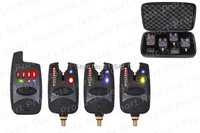 Free shipping 8 leds line wireless carp bite alarm JY-37(1 receiver + 3 alarms)