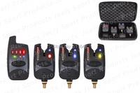 Free shipping 8 leds line wireless carp bite alarm JY-37(1 receiver + 3 alarms)