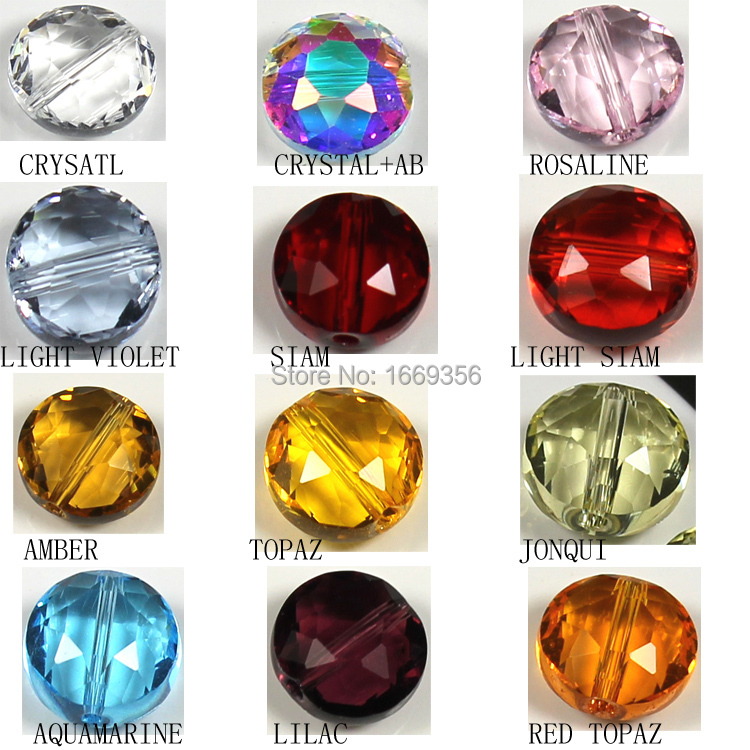 10mm warm colors fashion diy jewelry 10mm button shape beads flower cutting semi-crystal glass create your style(China (Mainland))