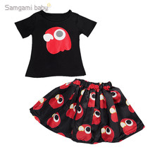 2016 Summer Girls Clothes Black Girl's T-shirt + Skirt Owl Print Children Set Kids Clothing for 2-7y Girl Set