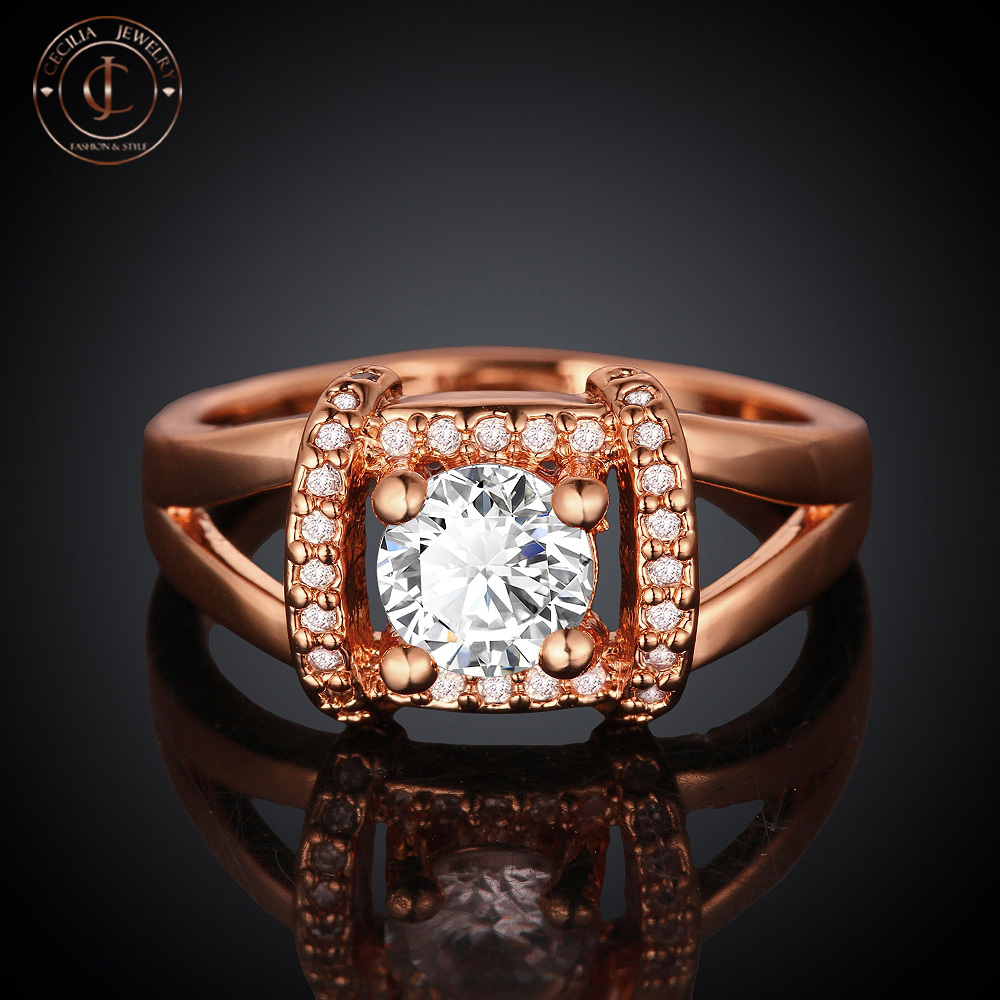 Fashion and New Design Jewelry 18k Rose Gold Plated Rings Top Quality Wedding Ring(China (Mainland))