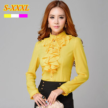 Fashion stand collar long sleeve yellow female shirt OL office Formal elegant ruffles chiffon women's blouse plus size bow tops(China (Mainland))