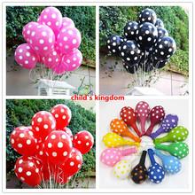 Hot selling 15pcs 2.8g 12 inch Romantic Polka Dot latex balloons arch baby kids  birthday party decoration wedding marrige  toys(China (Mainland))
