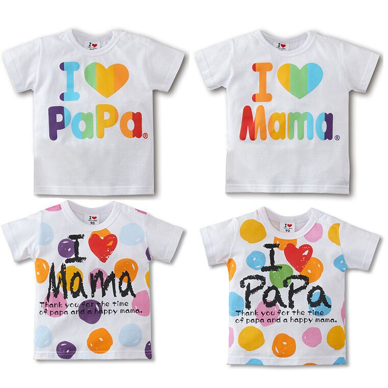 I love papa i love mama children t shirt baby fashion t-shirt short sleeve kids short shirt infant tees child t-shirts(China (Mainland))