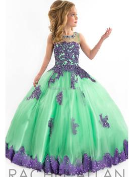 2015 Girls Pageant Dresses Ball Gown High Collar Blue Green Red Beaded Baby Little Tutu Flower Girls Dresses For Wedding