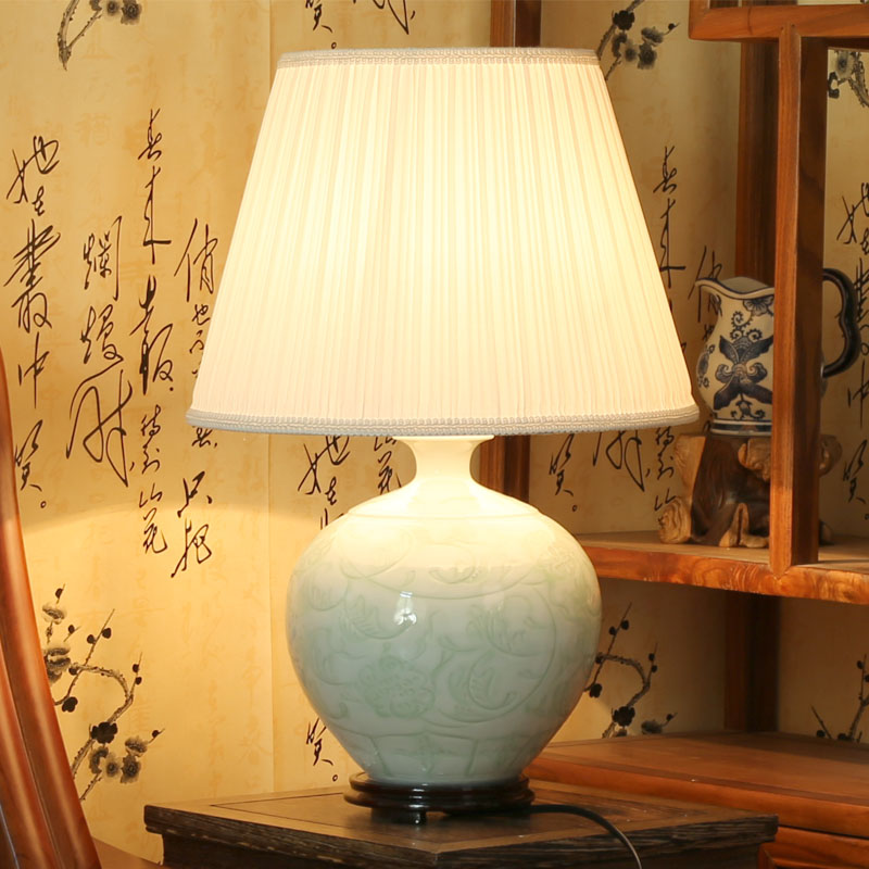 Beautiful chinese hand carved flower design celadon porcelain ceramic table lamps bedroom  -  Jingdezhen Youngs Ceramic Co., Ltd. store