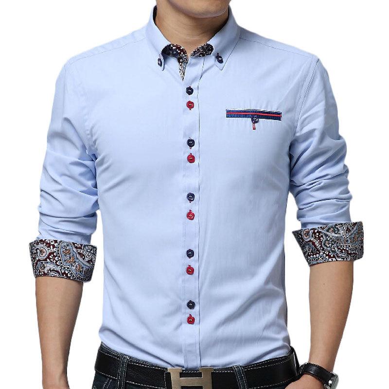 New Sky Blue Men Shirt Chemie Homme 2015 Fashion Design Mens Slim Long ...
