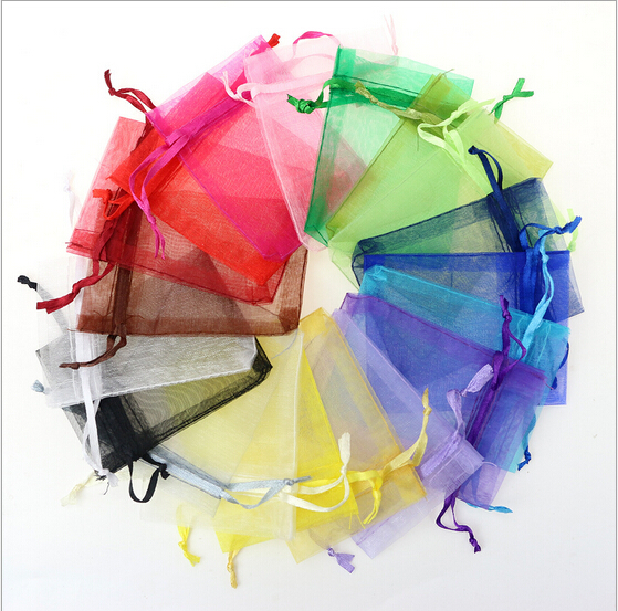 100pcs/lot 7x9cm Mixed Color Bolsas Organza Bags Tulle Jewelry Pouches Christmas Wedding Favor Candy Gift Packaging Bag Saco(China (Mainland))