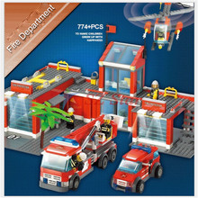 DIY assembled building blocks sets toy fire department department building bricks blocks education toys car Helicopters for kids