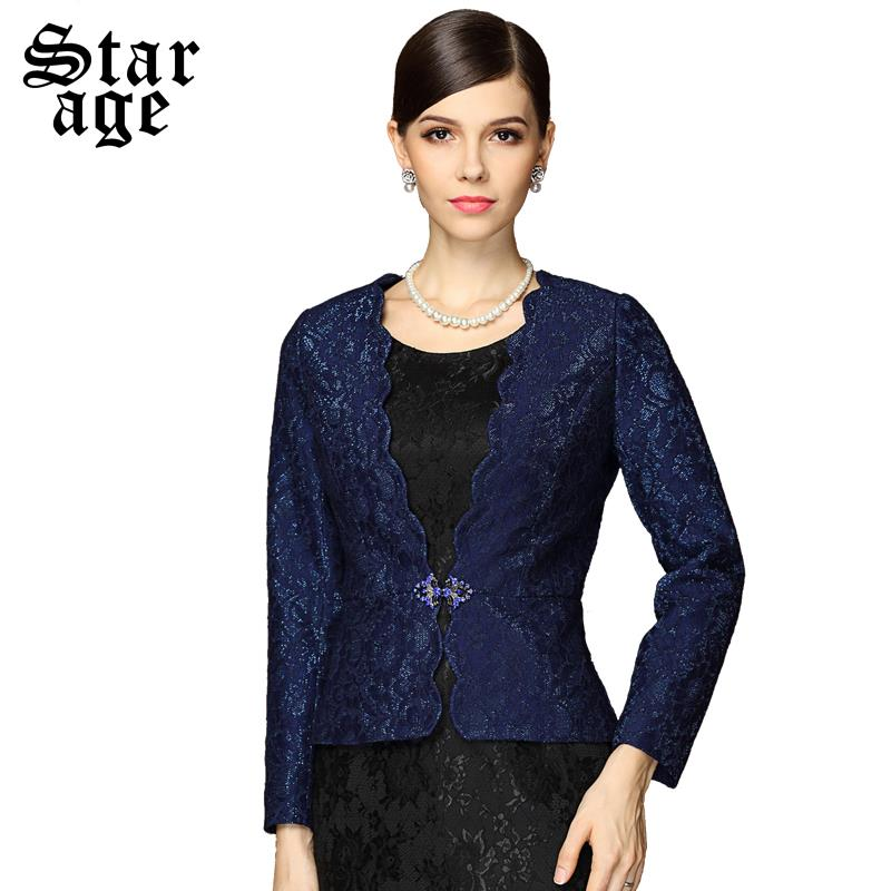 M-3XL Brand Office Ladies Wavy Collar Lace Embroidery Basic Blazers Suits 2016 Spring Autumn Plus Size Women Outerwear Coat 8113(China (Mainland))