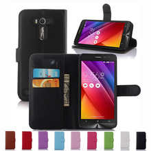 Wallet Case Asus ZenFone 2 Laser ZE550KL 5.5'' Phone PU Leather Kickstand TUP Back Shell Pink Green Purple Blue Black White - Shenzhen Protector Store store