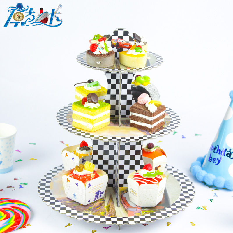 1 set 3 Tier Cartoon Cars birthday party decorations baby shower cardboard cupcake stand Cake Display Shelf(China (Mainland))