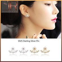 2016 New Korean Style 925 Sterling Sliver Daisy Flower Ear Jacket Shell shape Gold Plated Rhinestone Stud Earrings for women(China (Mainland))