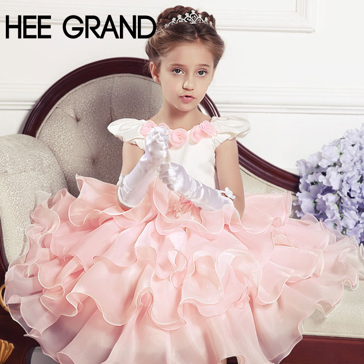 Vestido De Princesa Menina Vestido 2015 Girls' Elegant Princess Dress Pettiskirt /Bubble Dress With Flower,Drop Shipping,TQL156(China (Mainland))