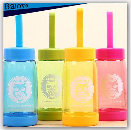 2015 Cartoon animal fashion creative cup portable water bottle cute plastic cups 420ML(China (Mainland))