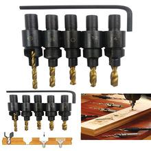 Hot 5pcs Hss Woodworking Ti Countersink Drill Bit Set Wood Countersinks Screw Size #6 #8 #10 #12 #14