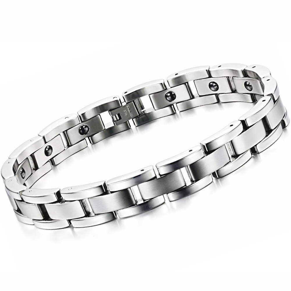 Punk trend cool men's Jewelry stainless steel bracelet handmade contain energy magnetic stone health bracelet 8012(China (Mainland))