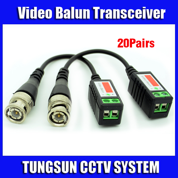 20Pairs/Lot Twisted BNC Cat5 UTP Video Balun Passive Transceivers CCTV Camera up to 3000ft Range Free shipping(China (Mainland))