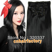 "New Arrival Plus Long 24"" 150gram Women's Hair Extension Heat Resistant Synthetic Hair Clip in Hair Extensions #1 Jet Black(China (Mainland))"