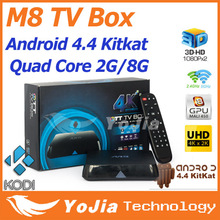 10pcs Original M8 Amlogic S802 Quad Core M8N Android 4.4 Smart TV Box Dual Wifi 2G RAM 8G ROM Bluetooth 4.0 KODI Media Player(China (Mainland))