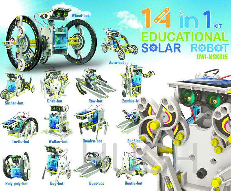 Creative 14-in-1 Solar Energy Robot Kit Educational 14 in 1 DIY Deform Boat Fan Car Robots Toy Power Moving Dog Novelty Toys 3D(China (Mainland))