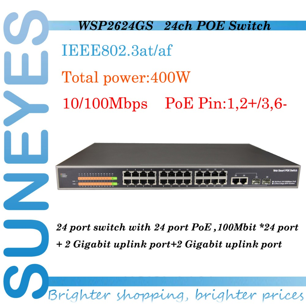 SunEyes WSP2624GSL Web-smart/managed 24CH POE Switches IEEE802.3af Standard POE Switch PoE Pin endspan 1,2+/3,6(China (Mainland))