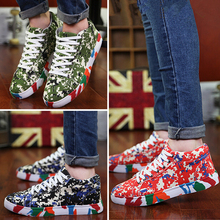 Supercolor men's casual print Floral zapatos mujur canvas shoes Zapatillas Deporte Slip On chaussure homme walking shoes(China (Mainland))