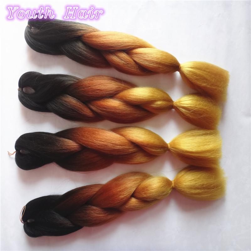free shipping3-10 pack Two Tone brown gold Ombre Kanekalon Braiding Hair Kanekalon Jumbo Braid Synthetic Braiding Hair Extension(China (Mainland))