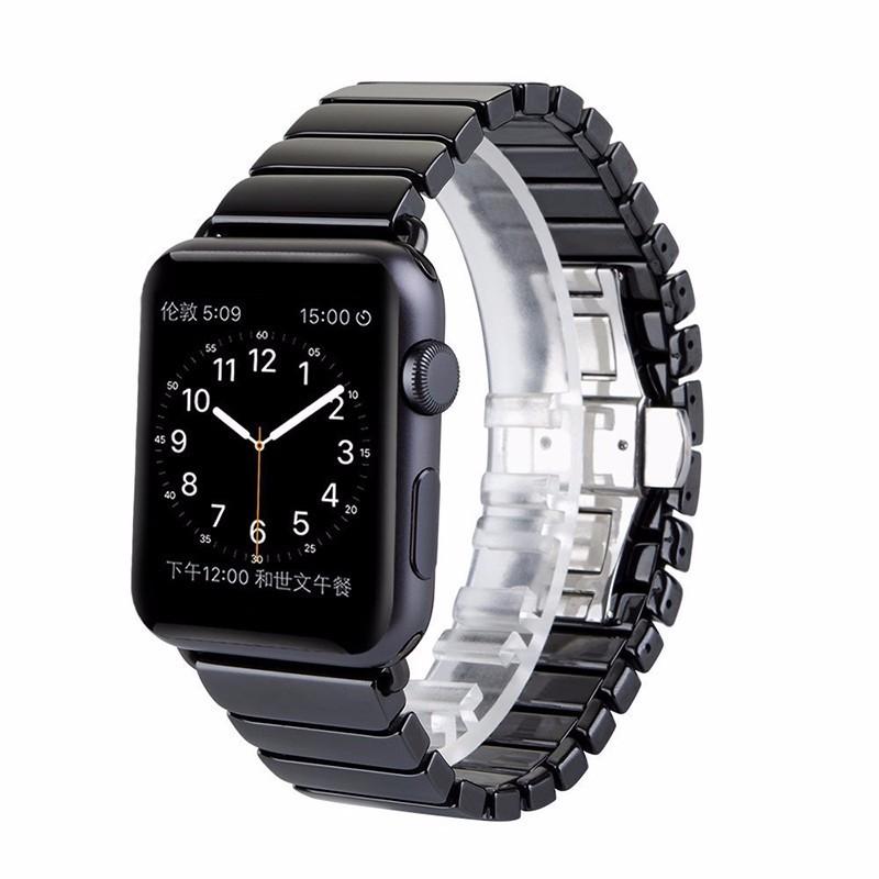 Новый Высококачественный Черный Глянцевый Белый Керамические Часы Ремешок Ремешок для Apple Watch iwatch 38 мм 42 мм Ссылка Браслет Бабочка Пряжка