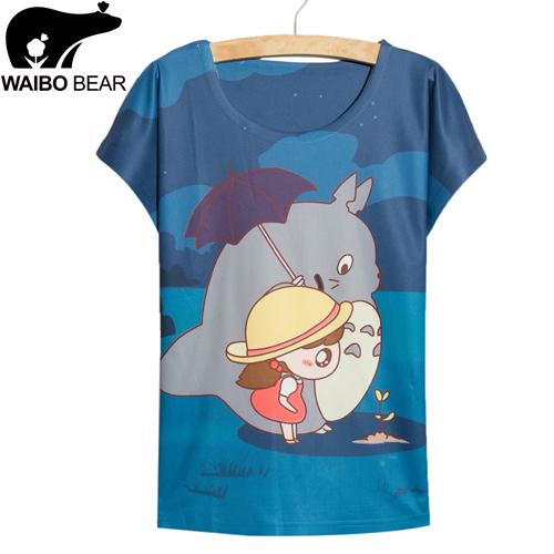 Fast fashion Blue totoro print T-shirt women tops tees new summer dress girls big size Tshirt women summer style thin Tshirt(China (Mainland))