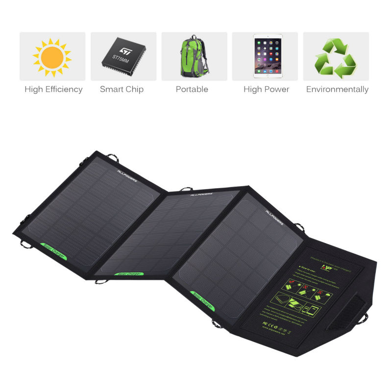 ALLPOWERS 5V 12W Dual Output 5V Cell Phone Portable Foldable Solar Charger Power Bag External Outdoor