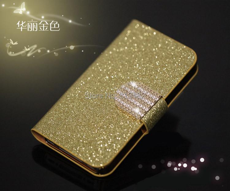 Luxury Glitter Diamond PU Leather Case Sony Xperia M2 S50H Cover Aqua Flip Buckle Stand Card Holder - GUANGZHOU WANJIA Co., Ltd. store