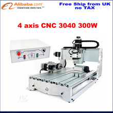 (EU Free Taxes!) Discount Ball screw 4 Axis Desktop CNC3040 300w spindle motor CNC 3040 CNC Router drilling milling Machine(China (Mainland))
