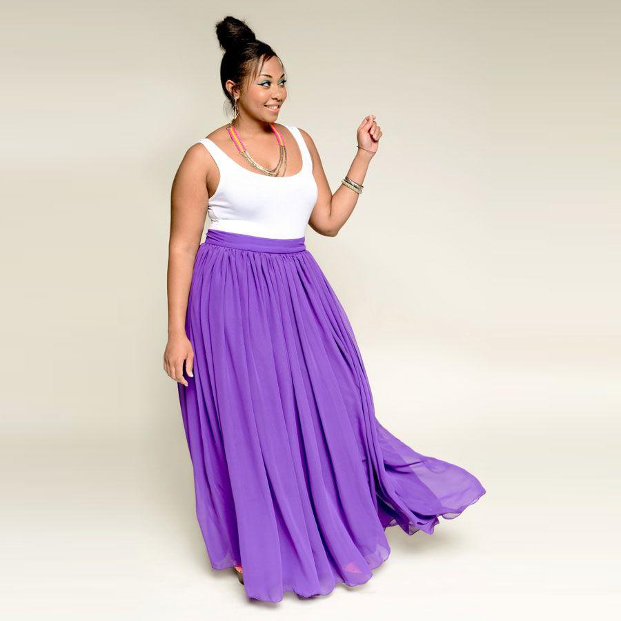 Plus Size Light Purple Women Skirts Empire Waistline A Line Floor Length Maxi Skirt Long Chiffon Skirt With Lining(China (Mainland))