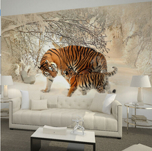 Home decor wall murals papel de parede tigers in winter snow forest photo wallpaper mural for living room bedroom decal