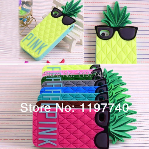 """Victoria/'s secret pink 3D Glasses Pineapple Design Silicone Soft Case For iPhone 6 4.7""""/PLUS 5.5 inch 5 5G 5s 4 4G 4S(China (Mainland))"""