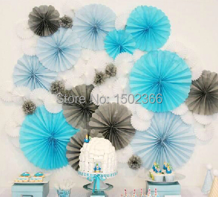 8 Inch 6pcs/Lot Tissue Paper Fan Decoration Blue Wedding Party Supplies Birthday Party Decorations Kids Baby Shower Multicolor(China (Mainland))