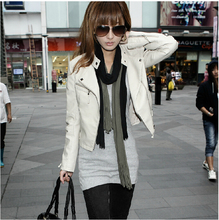 Hot sell brand Women Slim-fitting Genuine leather Jacket white coat women motorcycle genuine leather jacket  free shipping S-XL(China (Mainland))