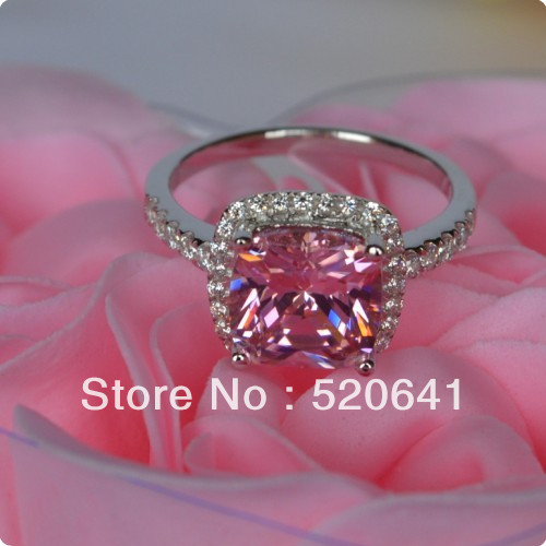 Xmas 3 Ct Cushion Shape Pink Wedding Engagement Classic Princess Cut synthetic Diamond Halo Style SONA synthetic diamond ring(China (Mainland))