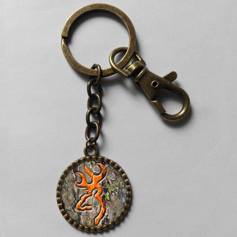 Wholesale 6$ Browning Deer Keyring Buckmark Buck Key Chain Hunting Bow Hunter Art Glass Pendant cute Keychain Gfit Lot fashion(China (Mainland))