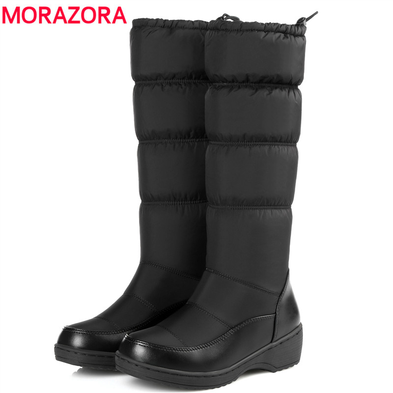 MORAZORA 2017 fashion keep warm down snow boots thick fur inside Elastic band mid calf winter boots platform footwear women boot(China (Mainland))