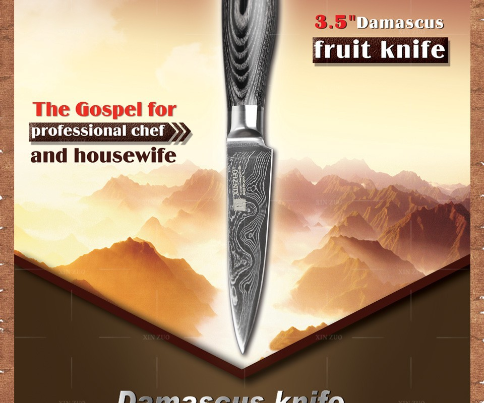 "Buy 3.5"" inch paring knife 73 layers Japan Damascus kitchen knife sharp peeling fruit knife with Color wood handle free shipping cheap"