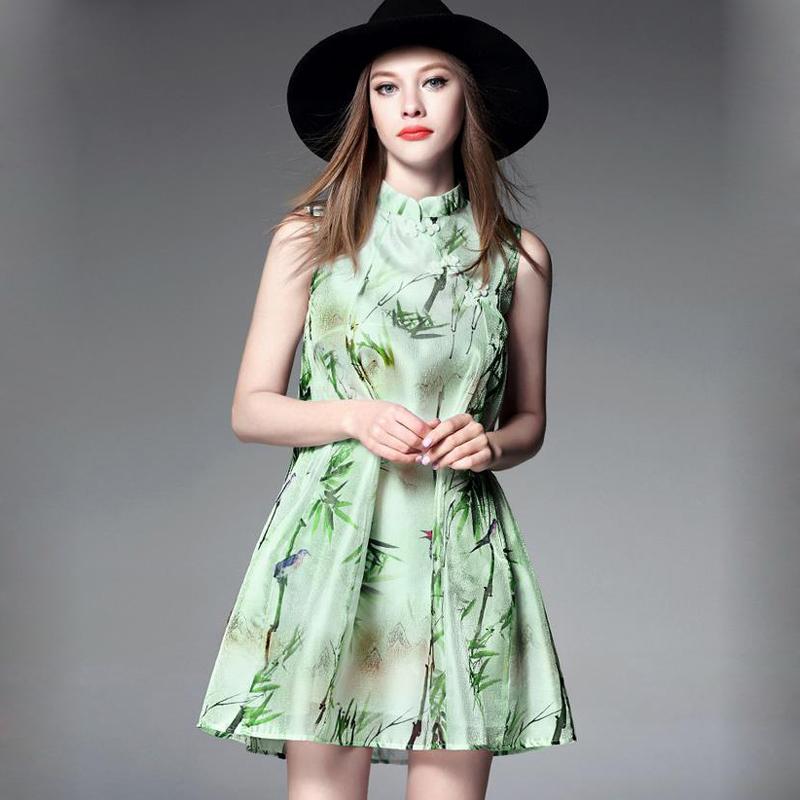 High Quality 2016 summer dress women Brand clothing sleeveless Bamboo and birds Casual A-Line Dresses robe femme vestidos(China (Mainland))