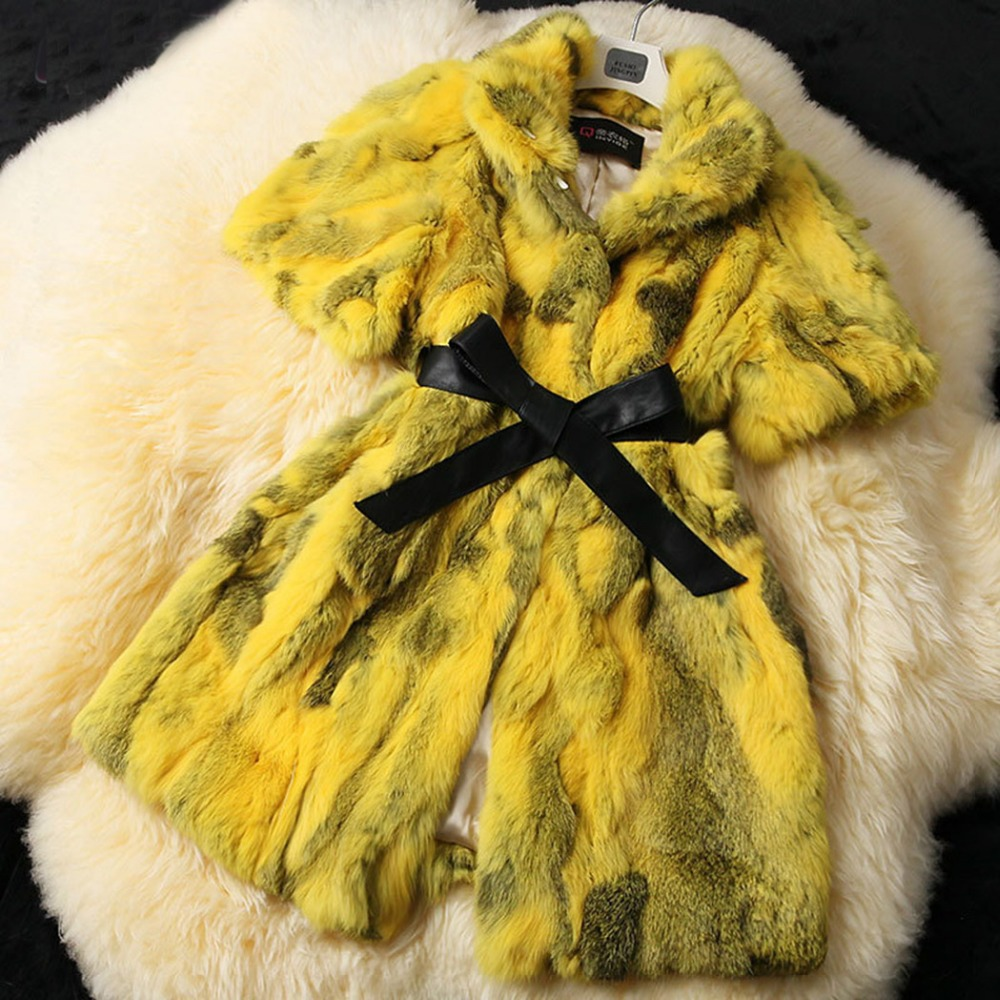 Fur Story 15185 New 2015 Women's Coats Colorful Real Fur Coat Female Luxury Rabbit Fur Winter Jacket Women New Arrival Overcoat(China (Mainland))