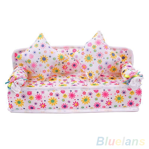 Mini Furniture Flower Sofa Couch +2 Cushions For Doll House Accessories 1U8J 2P6O(China (Mainland))