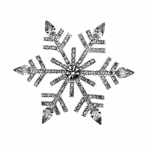 Silver/Gold Plated Crystal Rhinestone Bridal Fashion Accessories Snowflake Brooches and Pins For Christmas Day Gift