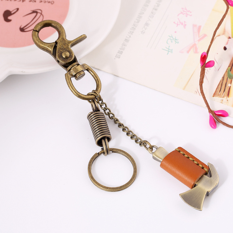 Free Shipping Punk Vintage Style Hammer Axe Shape Genuine Leather Copper Alloy Keychain Pendant For Men Women E0547(China (Mainland))