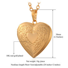 Valentines Gift Heart Locket Necklace Jewelry Wholesale New 18K Real Gold Plated Romantic Fancy Heart Pendant